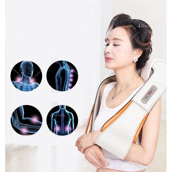 Шиацу 4D масажор за врат, гръб, плешки и рамене с функция затопляне TV95 10