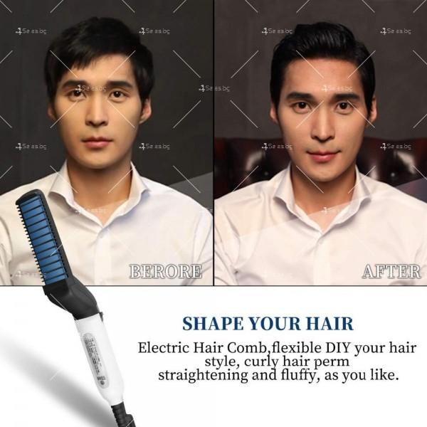 Електрическа четка с керамична плоча за изправяне на коса и брада TV538 6