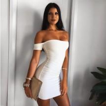 Къса лятна рокля в бяло, еластична по тялото с къс ръкав под рамото FZ2
