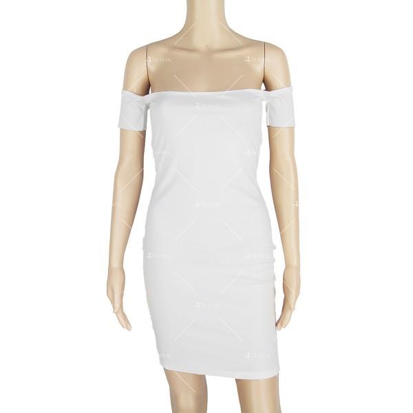 Къса лятна рокля в бяло, еластична по тялото с къс ръкав под рамото FZ2 8