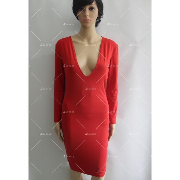 Прилепнала еластична рокля по тялото с дълъг ръкав и дължина до коляното FZ3 3