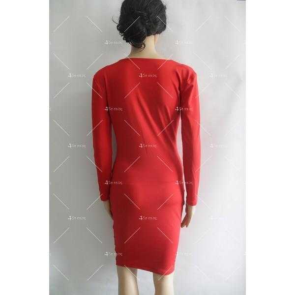 Прилепнала еластична рокля по тялото с дълъг ръкав и дължина до коляното FZ3 5