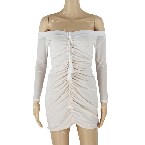 Мини рокля по тялото, с голи рамене и ефирен дълъг ръкав FZ5 6