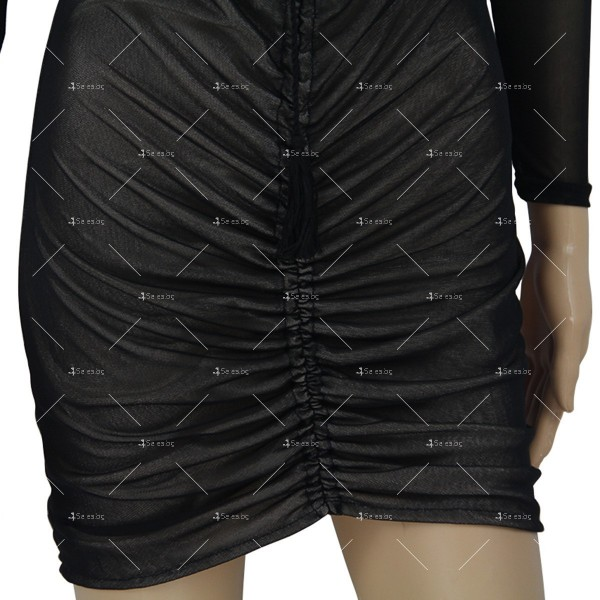 Мини рокля по тялото, с голи рамене и ефирен дълъг ръкав FZ5 7