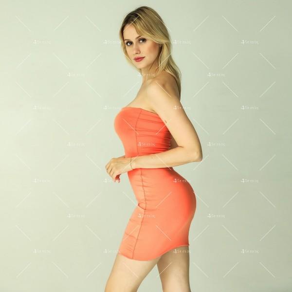 Прилепнала рокля по тялото с къса дължина, голи рамене в различни цветове FZ6 6