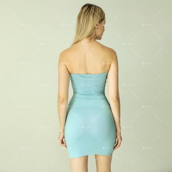 Прилепнала рокля по тялото с къса дължина, голи рамене в различни цветове FZ6 9