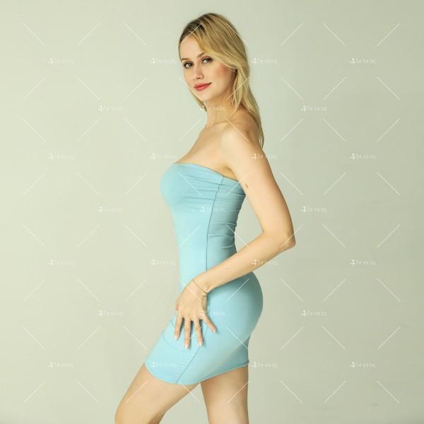 Прилепнала рокля по тялото с къса дължина, голи рамене в различни цветове FZ6 10