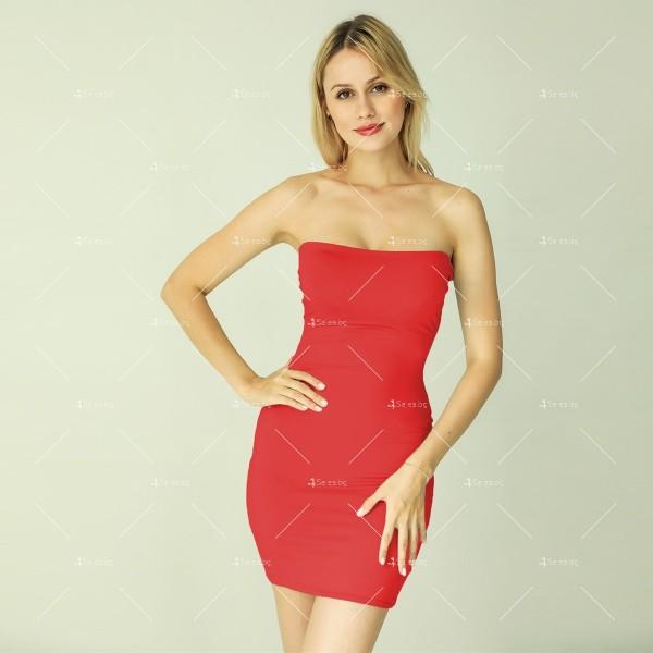 Прилепнала рокля по тялото с къса дължина, голи рамене в различни цветове FZ6 12