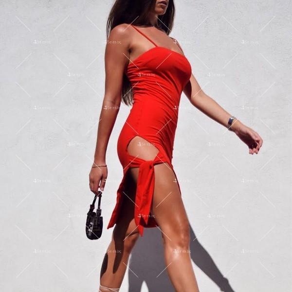 Дамска рокля до коляното с тънки презрамки, по тялото и отворено дясно бедро FZ8 4