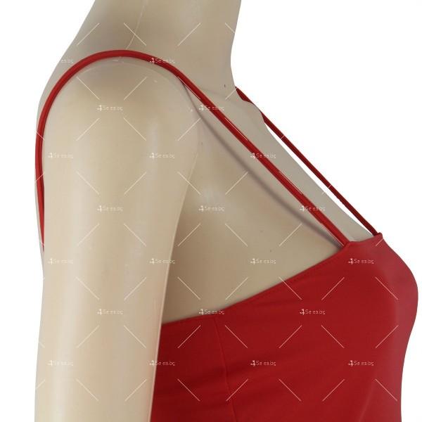 Дамска рокля до коляното с тънки презрамки, по тялото и отворено дясно бедро FZ8 15
