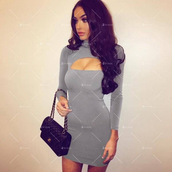 Къса рокля по тялото с дълъг ръкав, поло и дъговидно отворено деколте FZ10