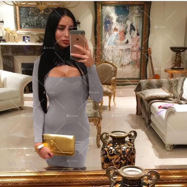 Къса рокля по тялото с дълъг ръкав, поло и дъговидно отворено деколте FZ10 7