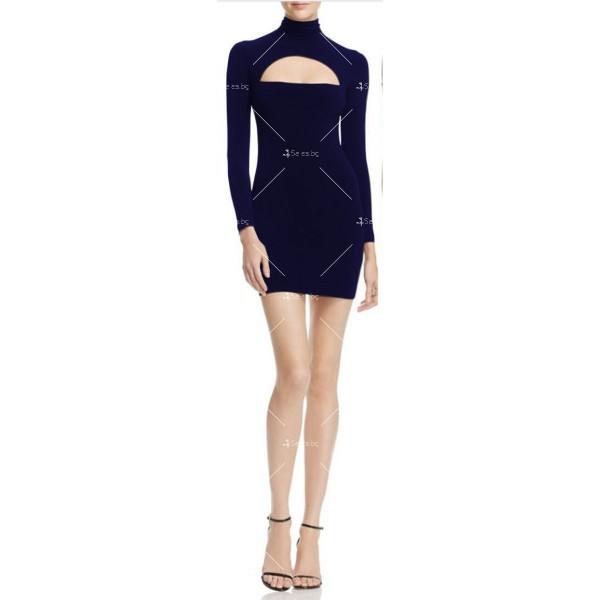 Къса рокля по тялото с дълъг ръкав, поло и дъговидно отворено деколте FZ10 10