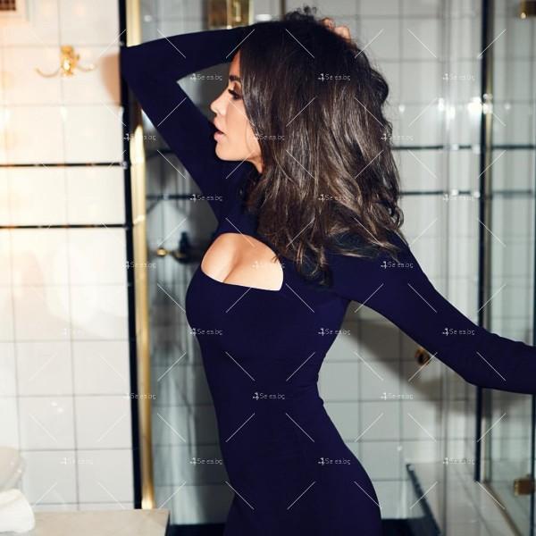 Къса рокля по тялото с дълъг ръкав, поло и дъговидно отворено деколте FZ10 14