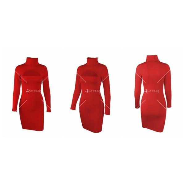 Къса рокля по тялото с дълъг ръкав, поло и дъговидно отворено деколте FZ10 15