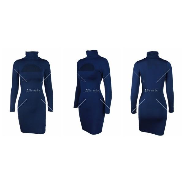 Къса рокля по тялото с дълъг ръкав, поло и дъговидно отворено деколте FZ10 16