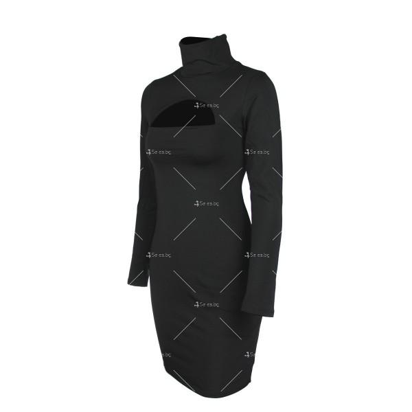 Къса рокля по тялото с дълъг ръкав, поло и дъговидно отворено деколте FZ10 17