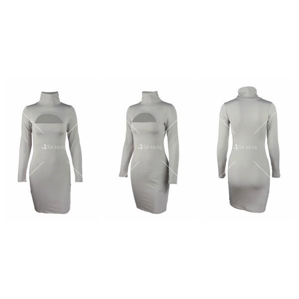 Къса рокля по тялото с дълъг ръкав, поло и дъговидно отворено деколте FZ10 19
