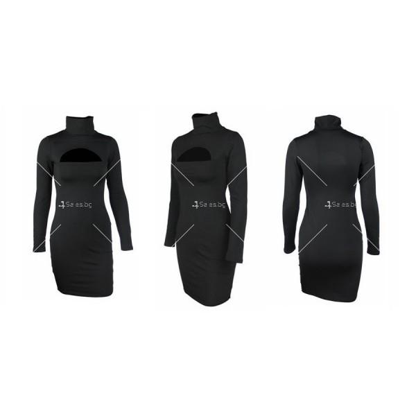 Къса рокля по тялото с дълъг ръкав, поло и дъговидно отворено деколте FZ10 20