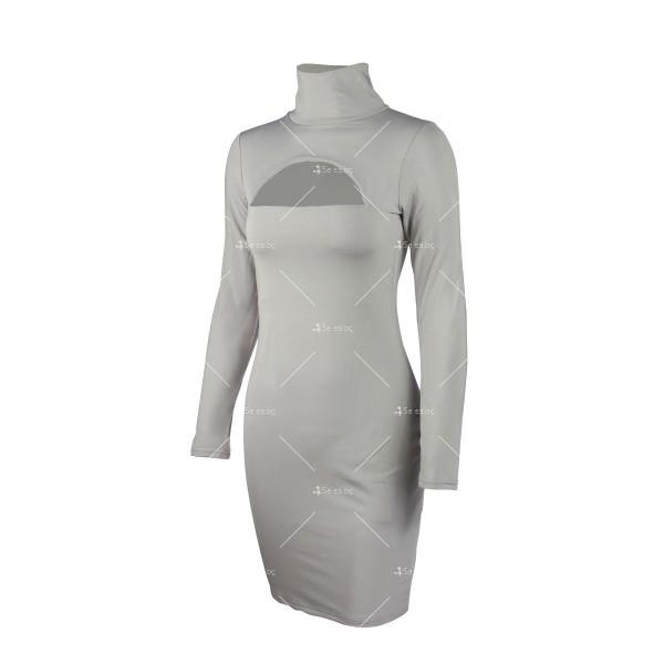 Къса рокля по тялото с дълъг ръкав, поло и дъговидно отворено деколте FZ10 21