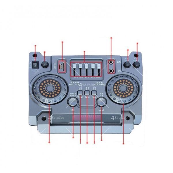 Преносима караоке колона с DJ пулт, LED осветление и функционален дисплей 5