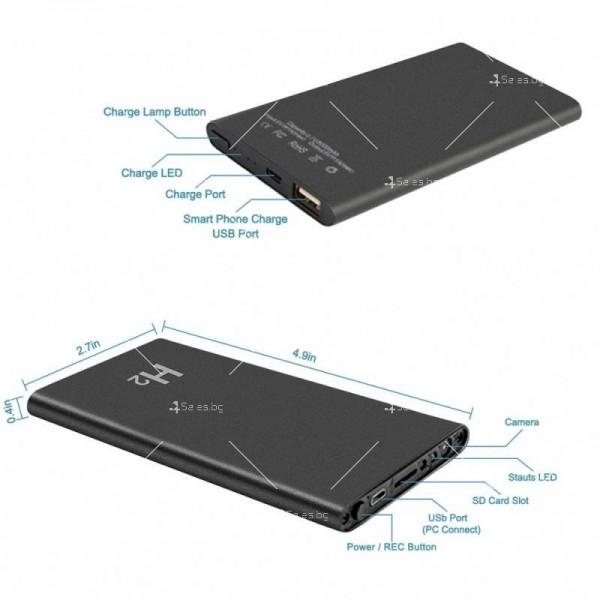 Скрита камера във формата на преносима батерия за телефон с 10-часов запис IP18 8