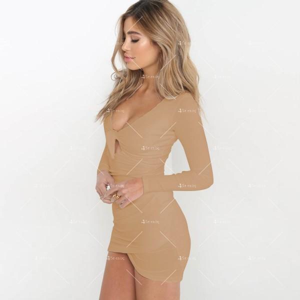Дамска рокля с отворено V-образно деколте, дълъг ръкав и асиметрична пола FZ11 5