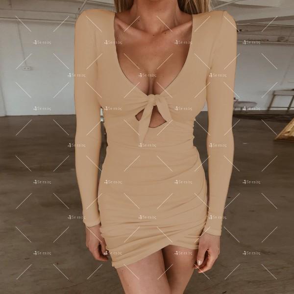 Дамска рокля с отворено V-образно деколте, дълъг ръкав и асиметрична пола FZ11 6
