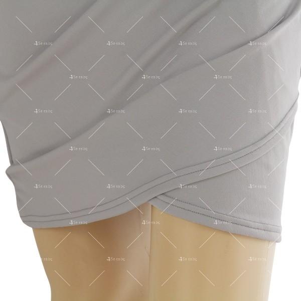 Дамска рокля с отворено V-образно деколте, дълъг ръкав и асиметрична пола FZ11 12