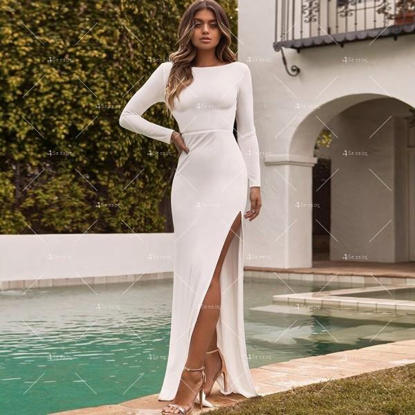 Елегантна дълга рокля с отворен гръб и дълга странична цепка на бедрото FZ12 2