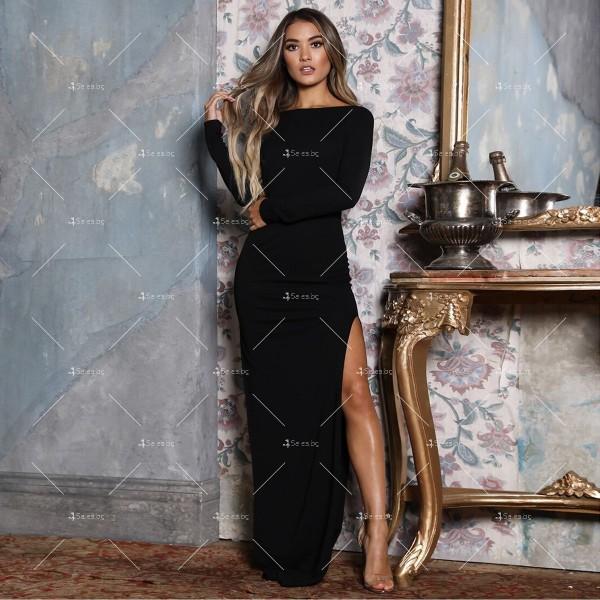 Елегантна дълга рокля с отворен гръб и дълга странична цепка на бедрото FZ12 3