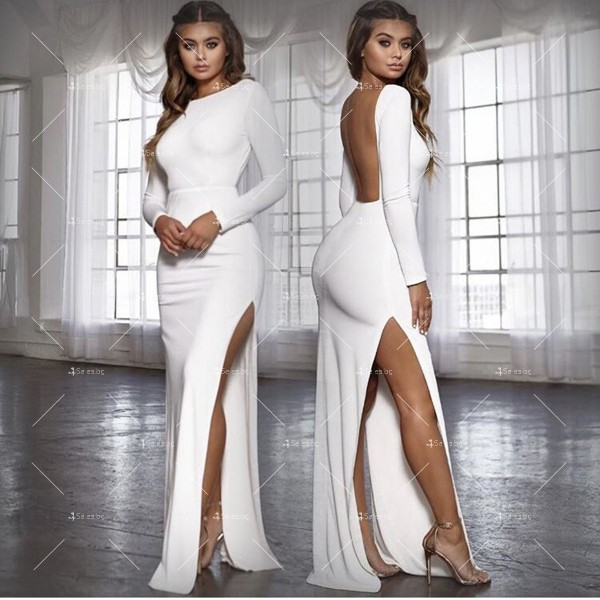 Елегантна дълга рокля с отворен гръб и дълга странична цепка на бедрото FZ12 13