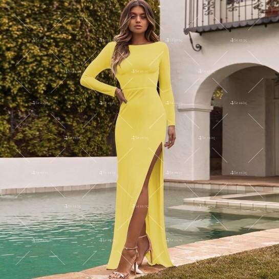 Елегантна дълга рокля с отворен гръб и дълга странична цепка на бедрото FZ12