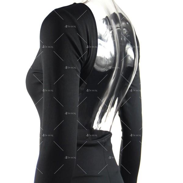 Елегантна дълга рокля с отворен гръб и дълга странична цепка на бедрото FZ12 12