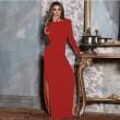 Елегантна дълга рокля с отворен гръб и дълга странична цепка на бедрото FZ12 4