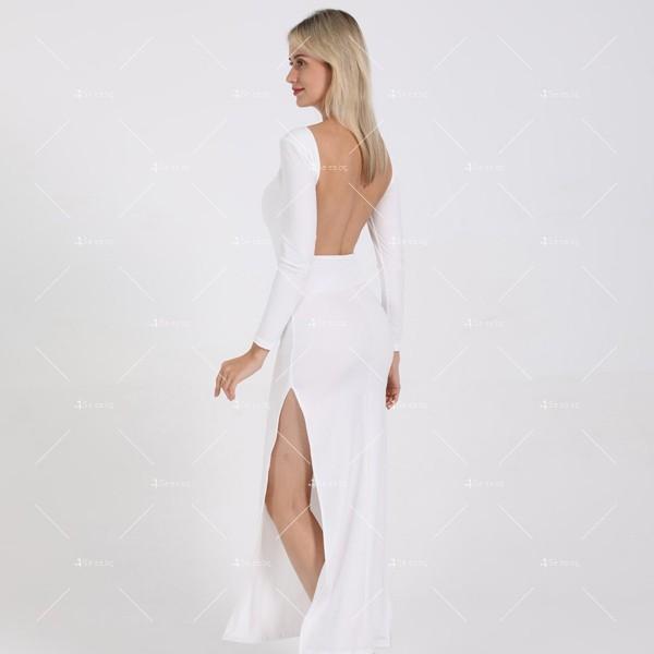 Елегантна дълга рокля с отворен гръб и дълга странична цепка на бедрото FZ12 15