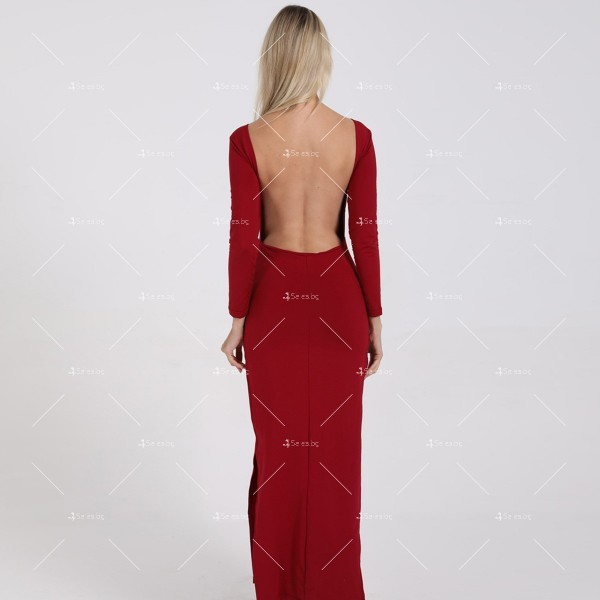 Елегантна дълга рокля с отворен гръб и дълга странична цепка на бедрото FZ12 16