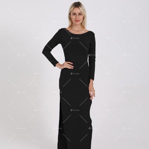 Елегантна дълга рокля с отворен гръб и дълга странична цепка на бедрото FZ12 17