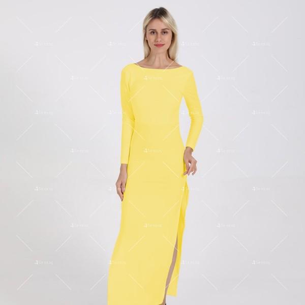 Елегантна дълга рокля с отворен гръб и дълга странична цепка на бедрото FZ12 18