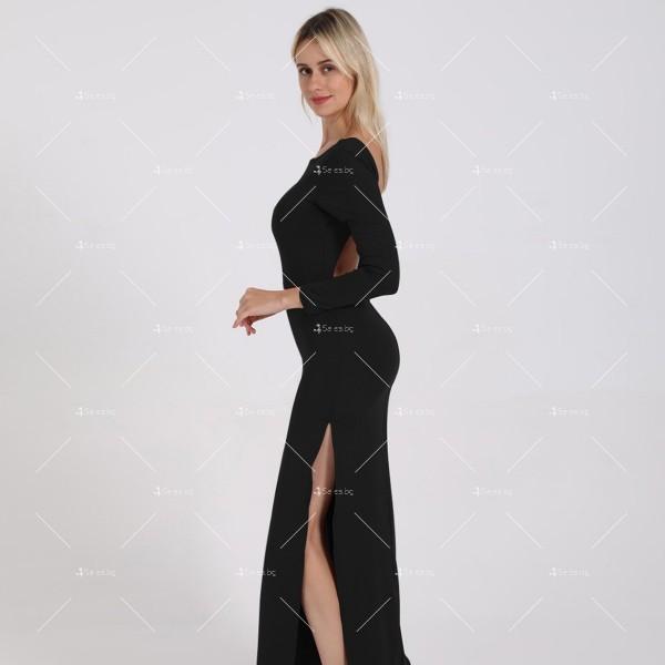 Елегантна дълга рокля с отворен гръб и дълга странична цепка на бедрото FZ12 19