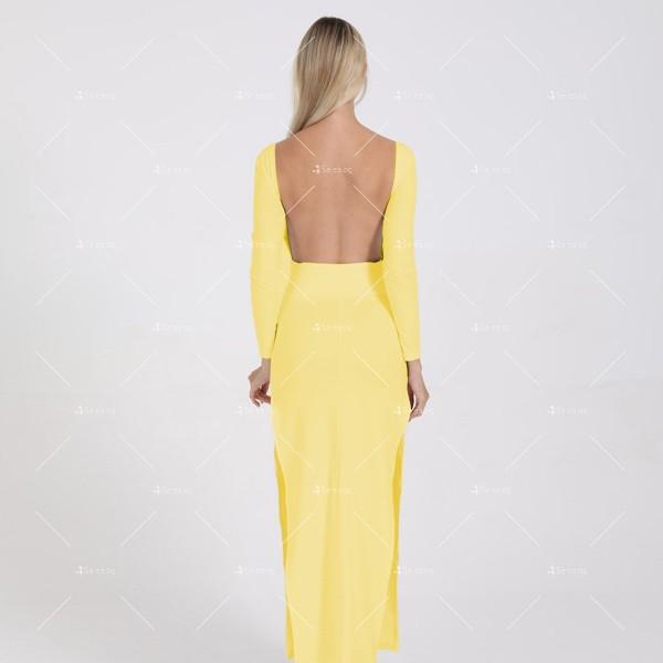 Елегантна дълга рокля с отворен гръб и дълга странична цепка на бедрото FZ12 20