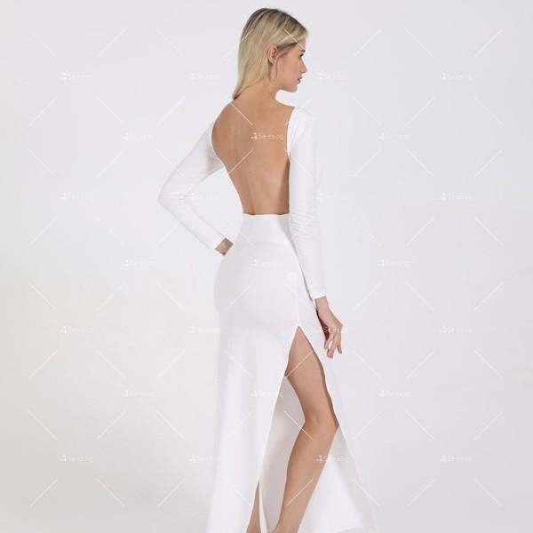 Елегантна дълга рокля с отворен гръб и дълга странична цепка на бедрото FZ12 22