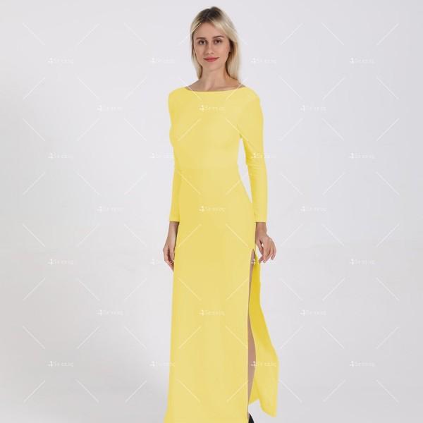 Елегантна дълга рокля с отворен гръб и дълга странична цепка на бедрото FZ12 23