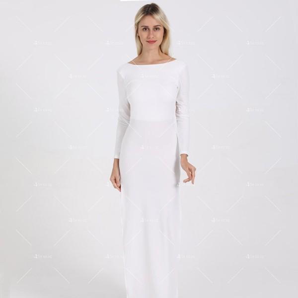 Елегантна дълга рокля с отворен гръб и дълга странична цепка на бедрото FZ12 24