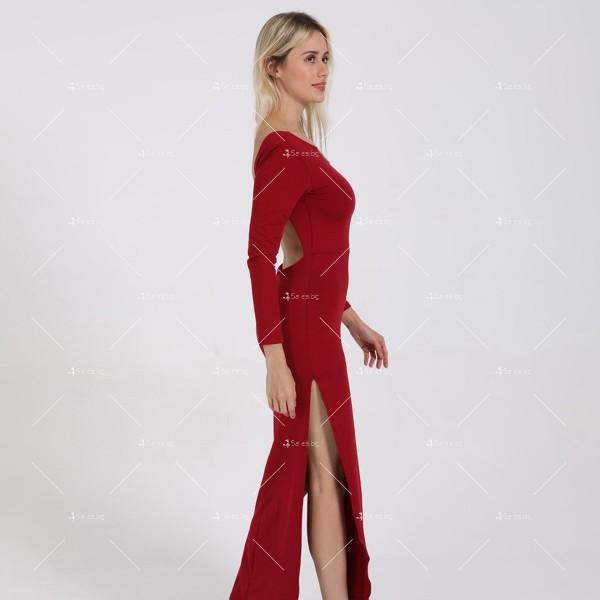 Елегантна дълга рокля с отворен гръб и дълга странична цепка на бедрото FZ12 26
