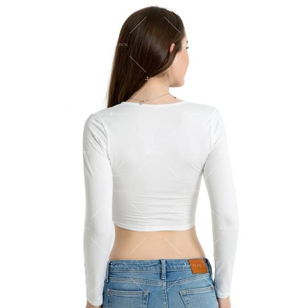 Блуза с дълъг ръкав, къса дължина и дълбоко V-образно деколте FZ15 7