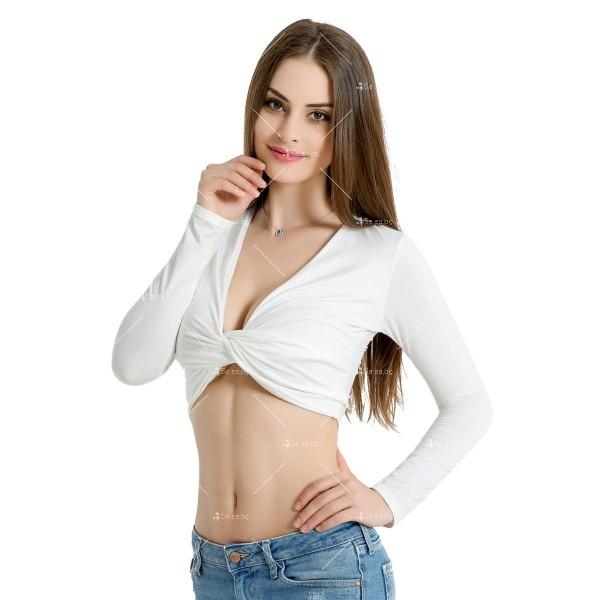 Блуза с дълъг ръкав, къса дължина и дълбоко V-образно деколте FZ15 8