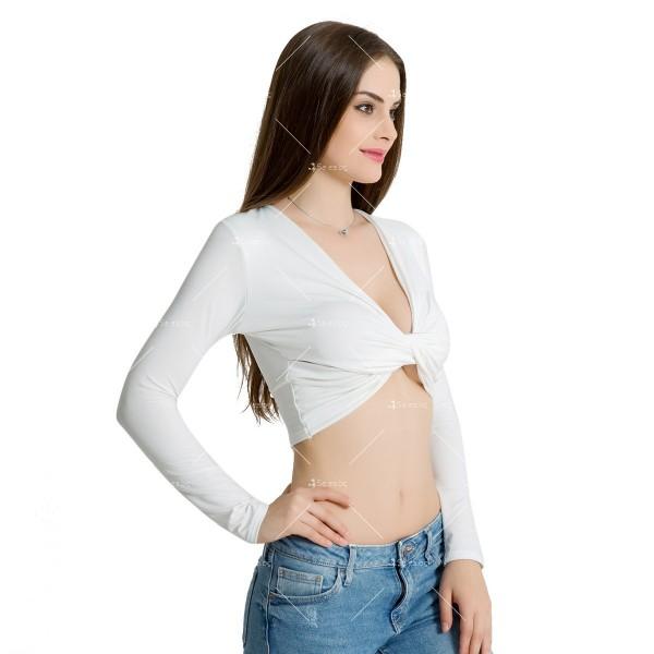 Блуза с дълъг ръкав, къса дължина и дълбоко V-образно деколте FZ15 14