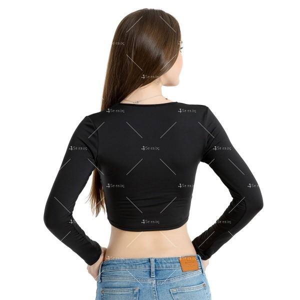 Блуза с дълъг ръкав, къса дължина и дълбоко V-образно деколте FZ15 15