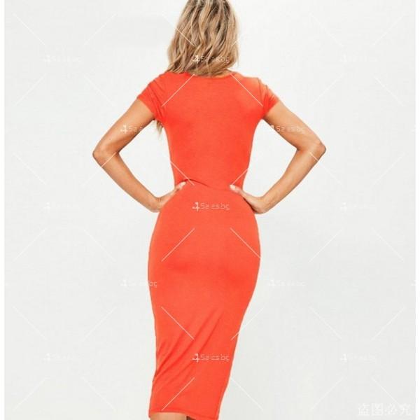 Изчистена семпла рокля с къс ръкав и дължина до коляното FZ17 5